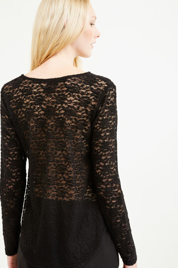Lace T-shirt with long sleeves, Black, hi-res