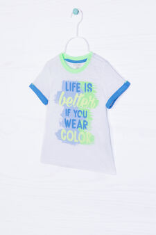 100% cotton T-shirt with printed lettering, White, hi-res