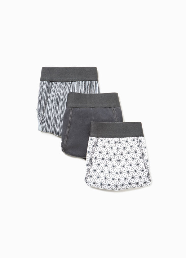 Three-pack cotton solid colour and patterned briefs | OVS