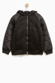 Solid colour jacket with hood, Black, hi-res