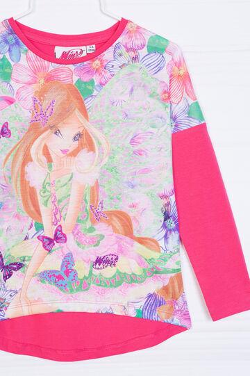 T-shirt cotone stretch stampa Winx, Rosa fuxia, hi-res
