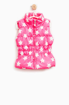 All-over print padded waistcoat, Neon Pink, hi-res
