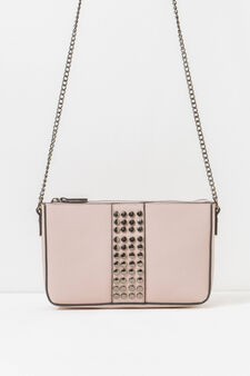 Shoulder bag with chain and studs, Pink, hi-res