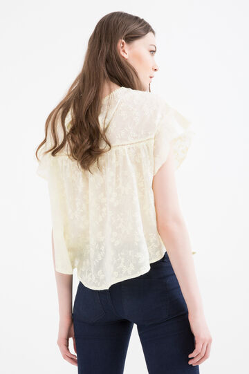 100% cotton blouse with floral pattern, Yellow, hi-res