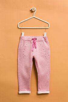 Cotton joggers with diamanté design, Dark Pink, hi-res