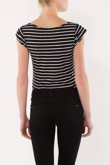 T-shirt a righe, Nero/Bianco, hi-res