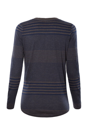 Smart Basic striped T-shirt in 100% cotton, Blue/Brown, hi-res