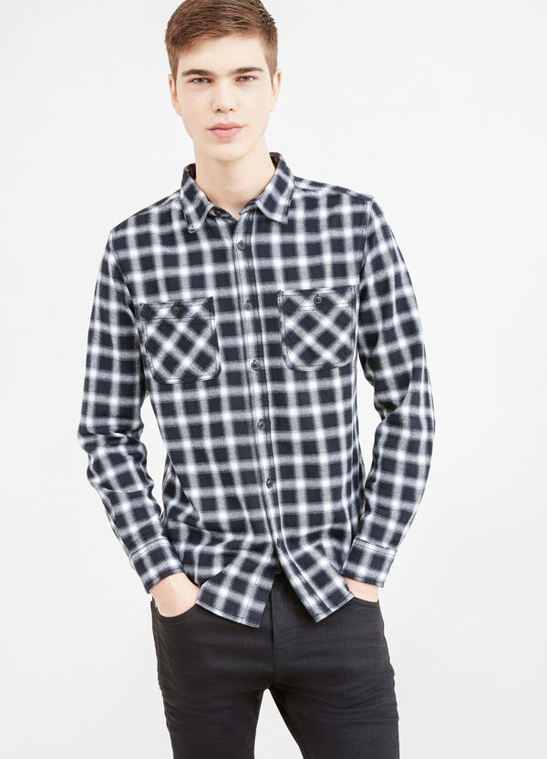Casual slim-fit tartan shirt in cotton | OVS