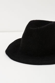 Wide brim hat in wool, Black, hi-res