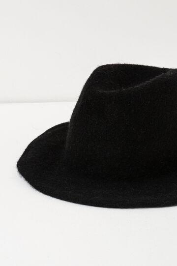 Wide brim hat in wool, Black, hi-res