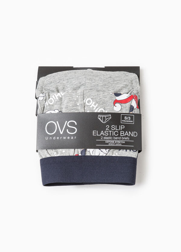 Two-pack briefs solid colour and Father Christmas | OVS