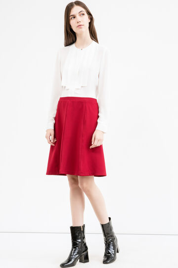 High-waisted stretch skirt with side zip, Red, hi-res