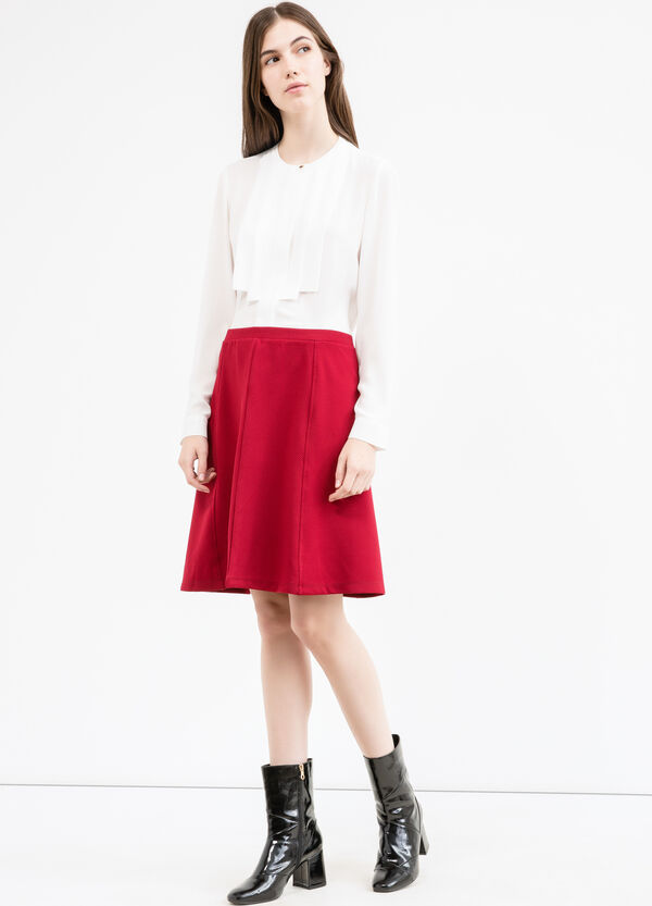 High-waisted stretch skirt with side zip | OVS