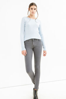 Skinny-fit stretch jeans with zip, Grey, hi-res