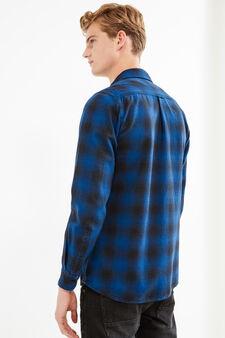 Camicia casual cotone a quadri, Nero/Blu, hi-res