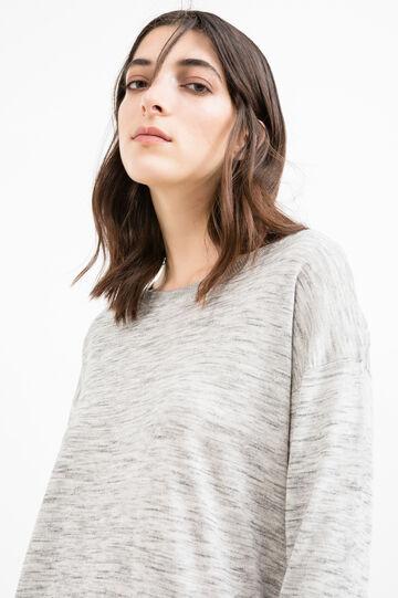 Viscose blend pullover with splits, Grey, hi-res