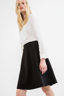 High-waisted skirt with stretch piquet, Black, hi-res