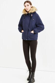 Cotton blend jacket with fur, Navy Blue, hi-res