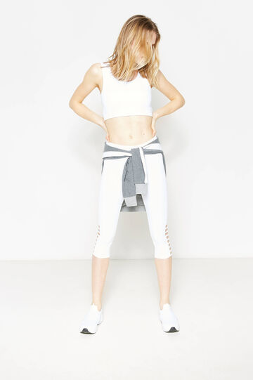 Solid colour crop leggings with openings, White, hi-res