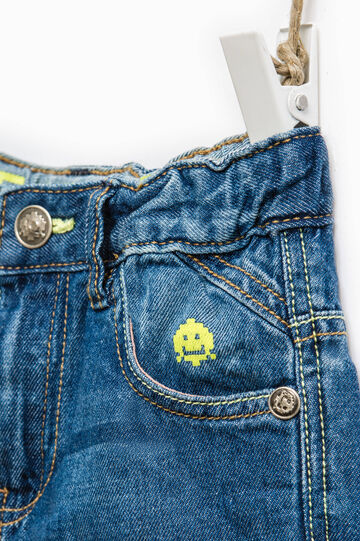 Worn-effect denim Bermuda shorts, Denim, hi-res