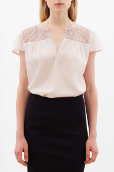 Blouse with openwork inserts, Pink, hi-res