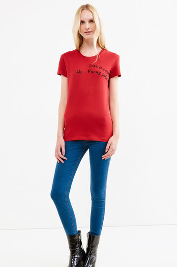 100% cotton T-shirt with printed lettering, Red, hi-res