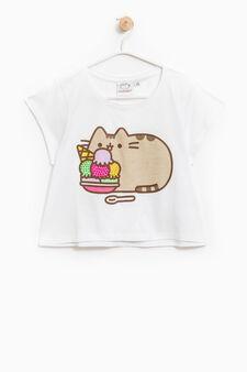 Pusheen the cat T-shirt with diamantés, White, hi-res