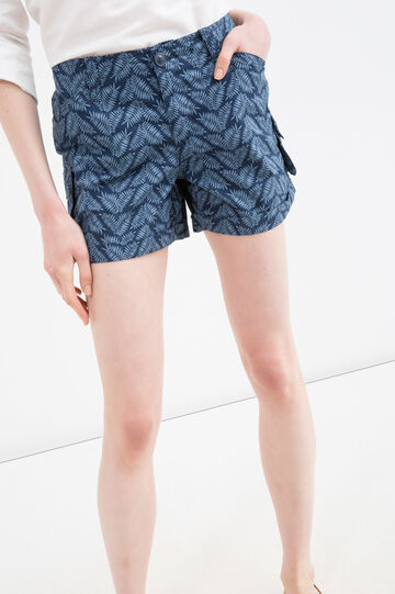 Printed shorts in 100% cotton, Blue/Light Blue, hi-res