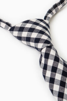 Tie with check pattern in contrasting colour., Grey/Blue, hi-res
