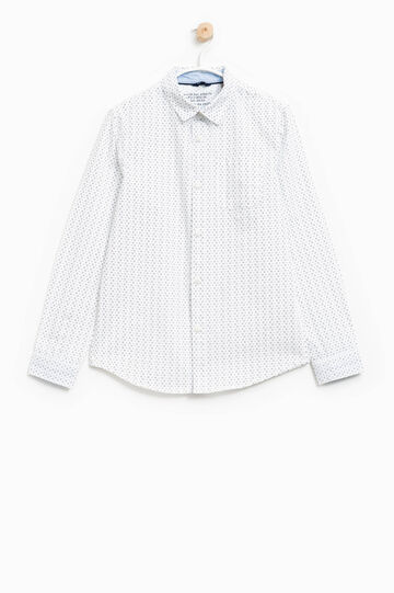 Camicia in puro cotone stampa all-over, Bianco/Blu, hi-res