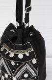 Bucket bag with beads, Black, hi-res