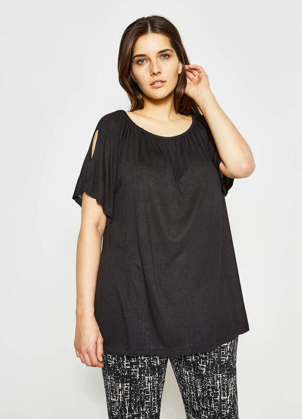 Curvy T-shirt with sleeve openings | OVS
