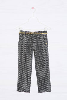 100% viscose patterned trousers, Dark Grey, hi-res