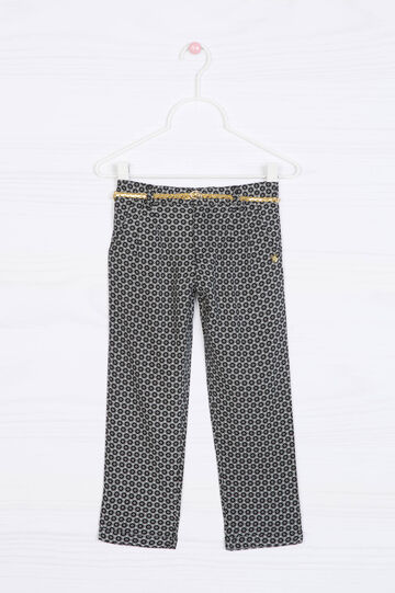 100% viscose patterned trousers, Dark Grey, hi-res