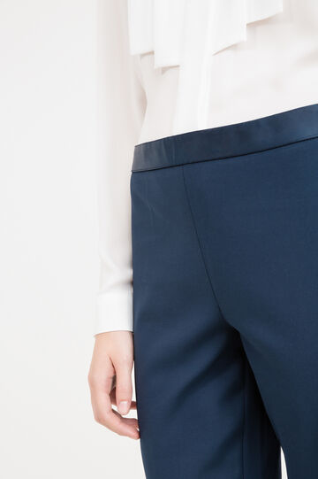 Stretch cotton elegant trousers, Blue, hi-res