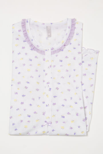 Camicia da notte cotone stampa, Bianco, hi-res
