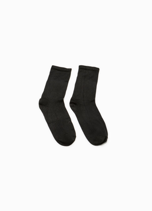 Short cotton socks in viscose with ribbing | OVS