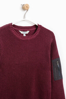 Pullover with sleeve pocket, Aubergine, hi-res