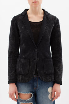 Worn-effect jacket in cotton blend, Black, hi-res