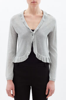 Viscose blend cropped cardigan., Grey, hi-res