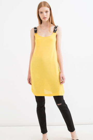 Long 100% viscose top with buckles, Banana Yellow, hi-res