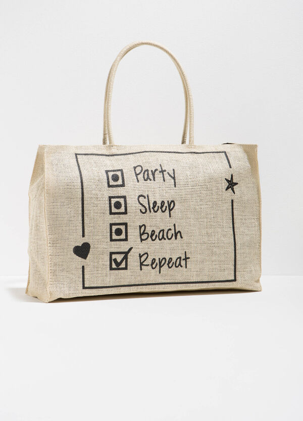 Straw beach bag with lettering print   OVS