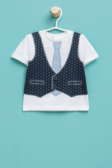 T-shirt with waistcoat and tie motif print, White, hi-res