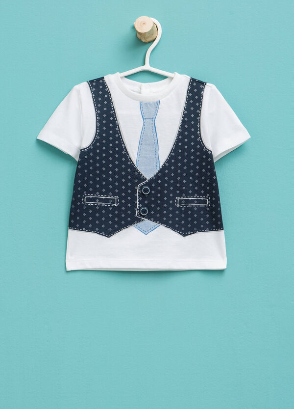 T-shirt with waistcoat and tie motif print | OVS