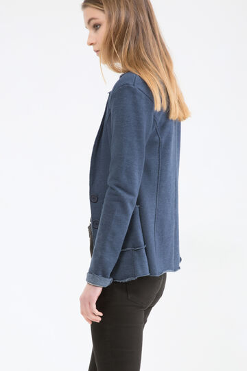Two-button fleece jacket, Blue Marl, hi-res