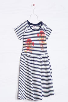 Patterned dress in stretch cotton, White/Blue, hi-res