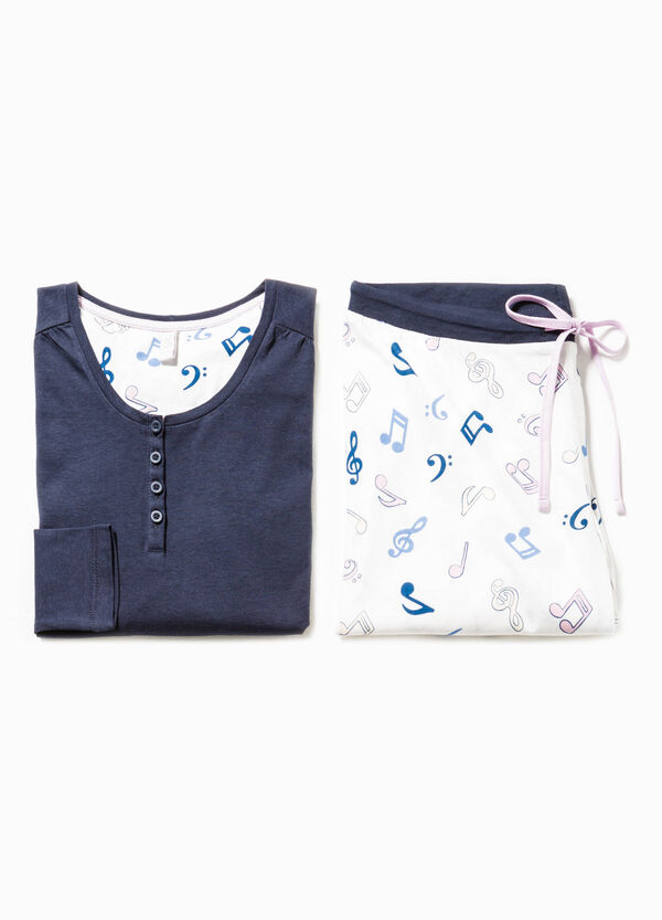 Cotton pyjamas with musical notes pattern | OVS