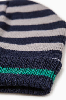 Knitted beanie cap with turn-up, Navy Blue, hi-res