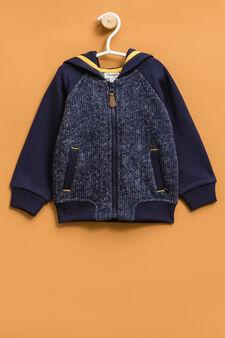 Viscose blend jacket with hood, Navy Blue, hi-res