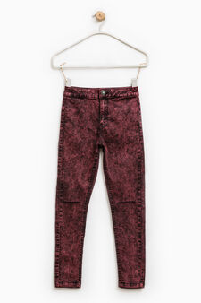 Stretch jeans with mis-dyed effect, Claret Red, hi-res